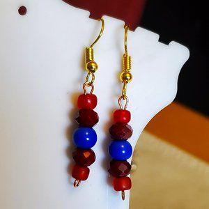 Gold Tone Hook Czech Glass Bead Dangle Earrings
